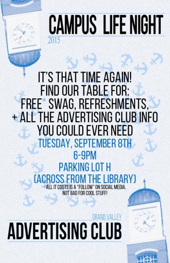 GVSU Advertising Club at Campus Life Night Flyer
